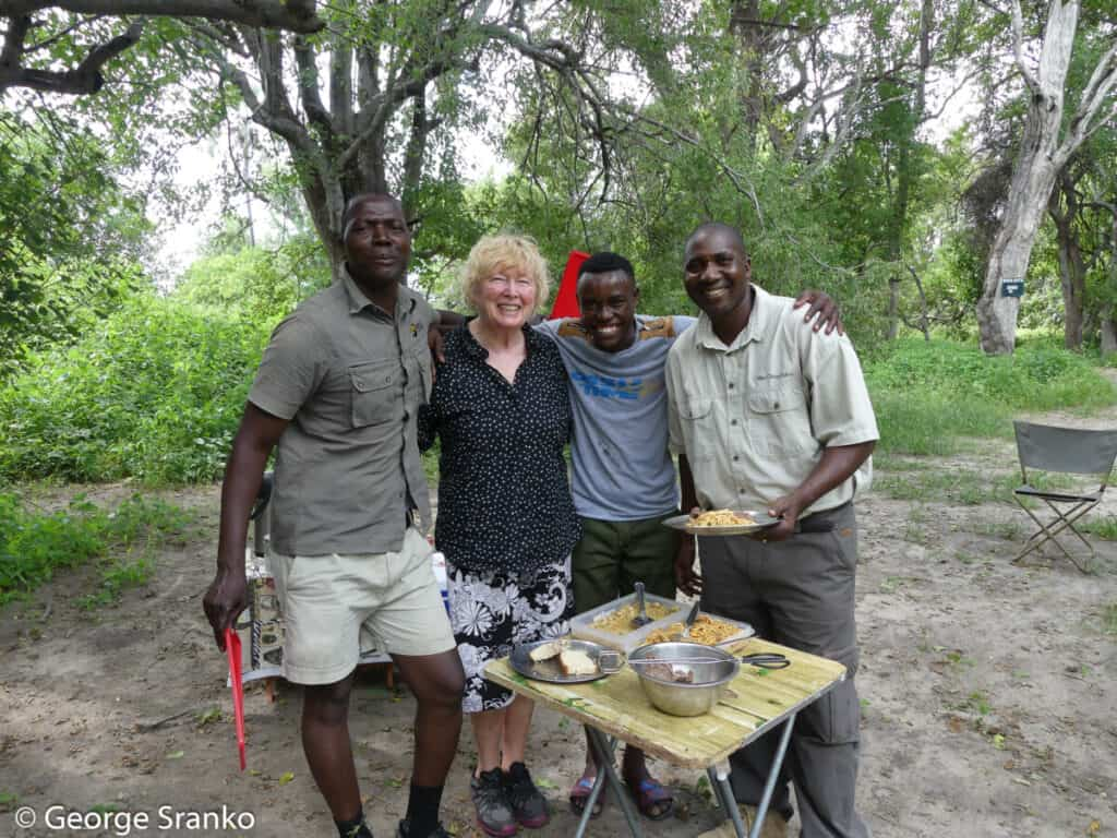 Jan Cadieux with our guides in the Okavango